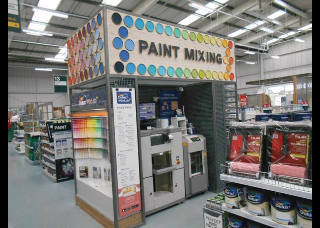 Wickes stocks own-label paint and Dulux in this store. The brand has provided a 'Mixlab' where bespoke colours can be made, and it takes centre-stage in this part of the shop.